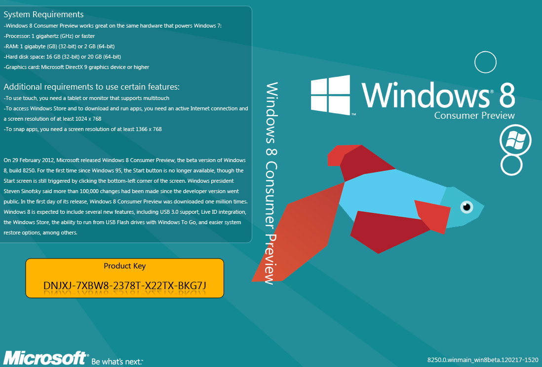 Windows 8 Consumer Preview DVD Cover  